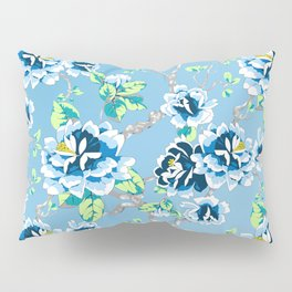 Chinoiserie Ming style Blue Floral Pattern Pillow Sham
