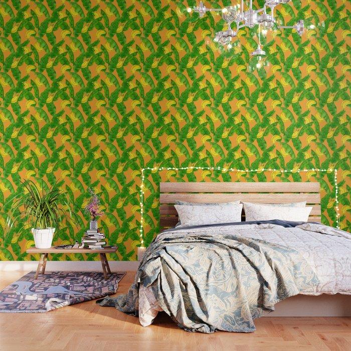 Bananas and leaves watercolor design Wallpaper