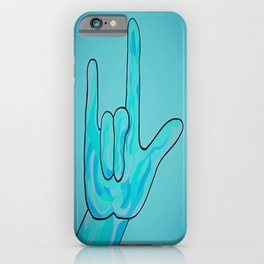 ASL I Love You Baby Blue iPhone Case