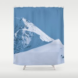 Winter Mountains in Glacier Blue - Alaska Shower Curtain