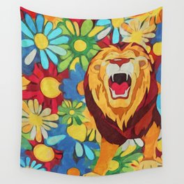 FlowerPower Lion Wall Tapestry