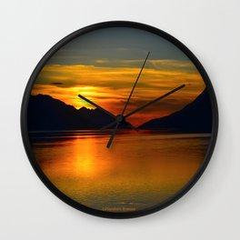 Alaskan Sunset Silhouette - Turnagain Arm Wall Clock
