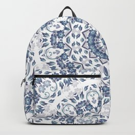 Grayish Blue White Flowers Mandala Backpack