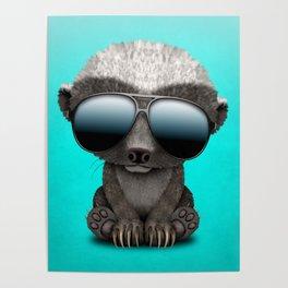 Cute Baby Honey Badger Wearing Sunglasses Poster