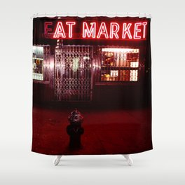 Night Lights Victors Meat Market, NYC Shower Curtain