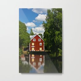 house on the river in Sweden Metal Print
