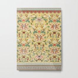 Asian Lotus Flower Pattern in Soft Yellow Antique Illustration Metal Print