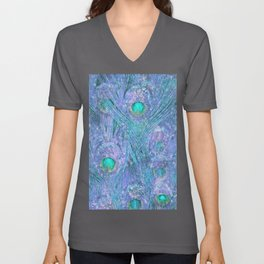 Teal and Purple Peacock Feathers Unisex V-Neck