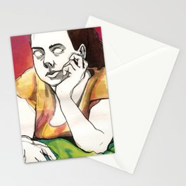 Girl on Red Stationery Cards