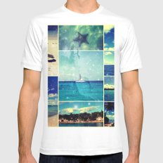 Starry Starry Caribbean Night Collage MEDIUM Mens Fitted Tee White