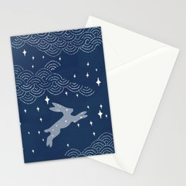 Night sky, bunny in the moon Stationery Cards