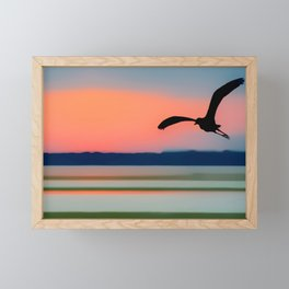 Seagull Sunset Abstract Framed Mini Art Print