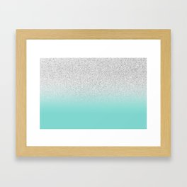 Modern Girly Faux Silver Glitter Ombre Teal Ocean Color Block Framed Art Print