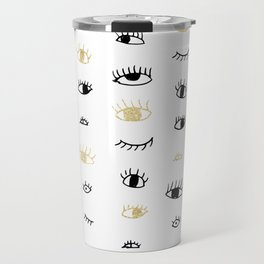 Funny fashion gold and black cute eyes pattern Travel Mug