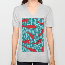 Koi carp. Red fish. black outline sketch doodle. azure teal burgundy maroon Nature oriental backgrou Unisex V-Neck