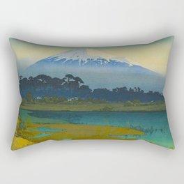 Sunrise (Asahi), Views of Mount Fuji Vintage Beautiful Japanese Woodblock Print Hiroshi Yoshida Rectangular Pillow