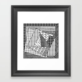 simple doodles in the square . Framed Art Print