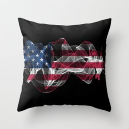 USA Smoke Flag on Black Background, USA flag Throw Pillow