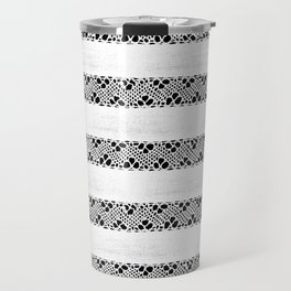 Stripes of antique rustic lace Travel Mug