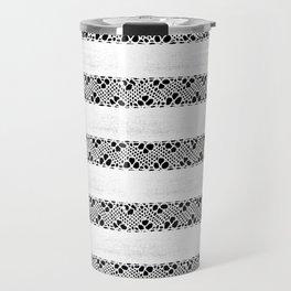 Stripes of antique rustic lace Travel Mug