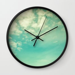 Retro Vintage Blue Turquoise Fall Sky and Clouds Wall Clock