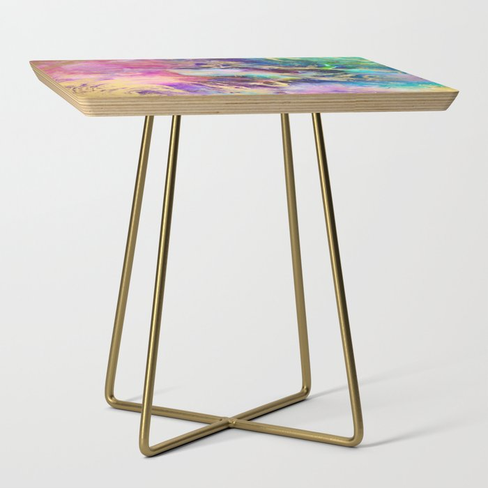 Modern_gold_marble_on_pastel_pink_purple_watercolor_nebula_paint_Side_Table_by_Girly_Trend__Gold__Square