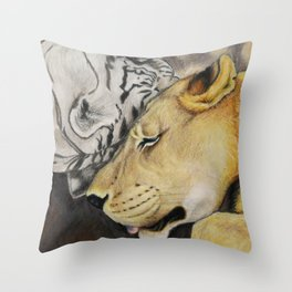 """CamBu"" Cameron Lion & Zabu Tiger Throw Pillow"