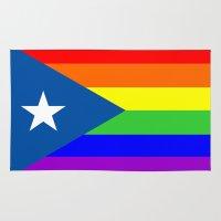 puerto rico Area & Throw Rugs featuring puerto rico gay people homosexual flag rainbow by tony tudor
