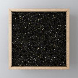 Faux gold glitter and sparkles on black texture Framed Mini Art Print