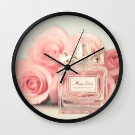 Fashion art, perfume and roses Wall Clock