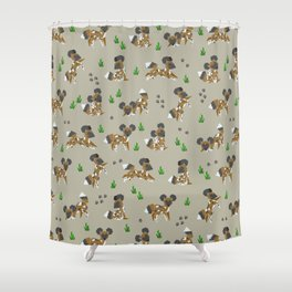 Geometric African Painted Dog Shower Curtain