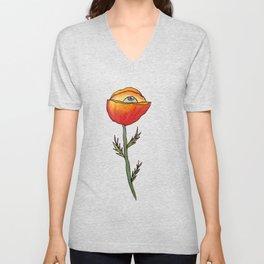All Seeing Poppy Flower Unisex V-Neck
