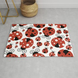 Ladybugs (Ladybirds, Lady Beetles) - Red Black Rug