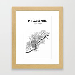 PHILADELPHIA MAP PRINT Framed Art Print