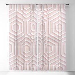3D Hexagon Gradient Minimal Minimalist Geometric Pastel Soft Graphic Rose Gold Pink Sheer Curtain