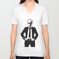 karl V-neck T-shirts featuring Karl Lagerfeld by Joanna Theresa Heart