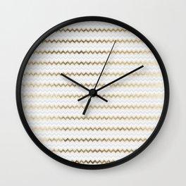 Elegant glam faux gold white geometrical chevron pattern Wall Clock