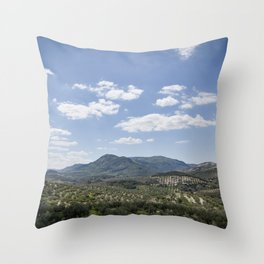 Mountains and Olive Trees Throw Pillow