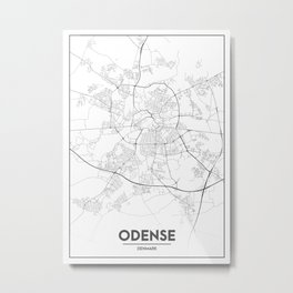 Minimal City Maps - Map Of Odense, Denmark. Metal Print
