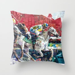 Abstract Race Horses Collage                                         Throw Pillow