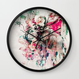 Watercolor Elephant and Flowers Wall Clock