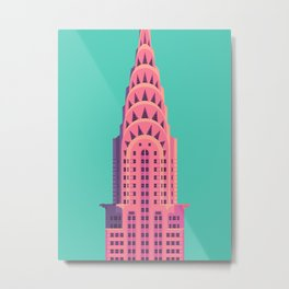 Chrysler Building New York Art Deco - Green Metal Print