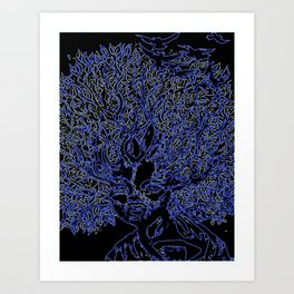 Neon afro tree hair Art Print