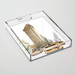 Architecture sketch of the Flatiron building in New york Acrylic Tray