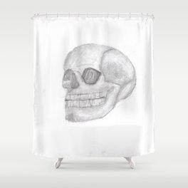 Death Skull (original work of 8yr old boy) Shower Curtain