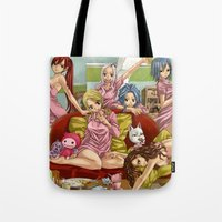 fairy tail Tote Bags featuring Fairy Tail in Lengerie by Borsalino