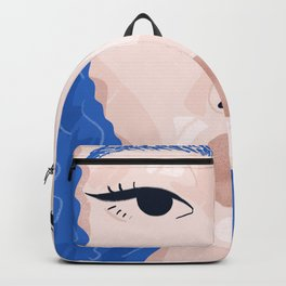 Beautiful Face - True Blue Curly Haired Girl Illustrative Portrait Backpack