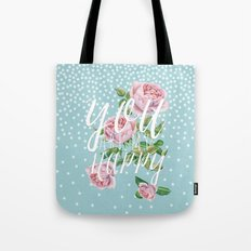 You are my happy- Roses Rose Flowers Polkadots - Vintage Design #Society6 Tote Bag