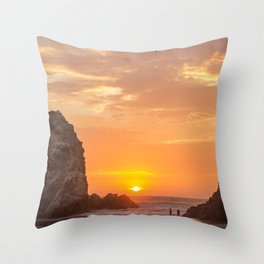 Couple Playing at Sunset Throw Pillow