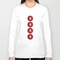 fleur de lis Long Sleeve T-shirts featuring Polka Fleur de Lis by Paula Belle Flores